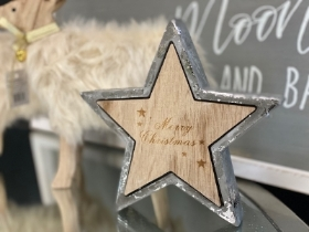 Concrete and wooden Merry Christmas Star