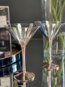Pair of Rose Gold & Silver Martini Glasses